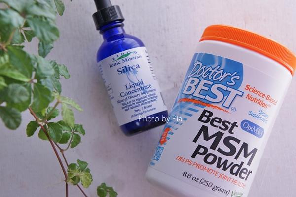 MSMとシリカのサプリをパウダーと液体にしてみました。手作りコスメや化粧水にも使えそう!